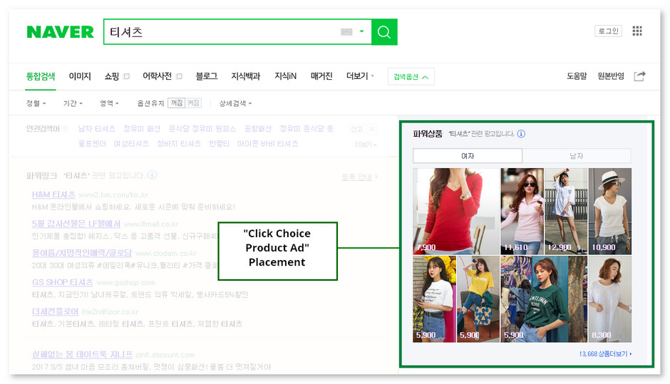 Article: Naver SEM 2017 - Click Choice Product Ad Example