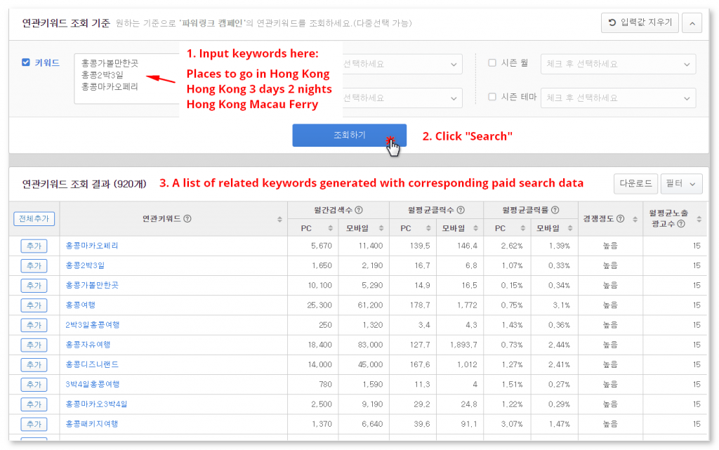 Naver Keyword Tool Keyword Search