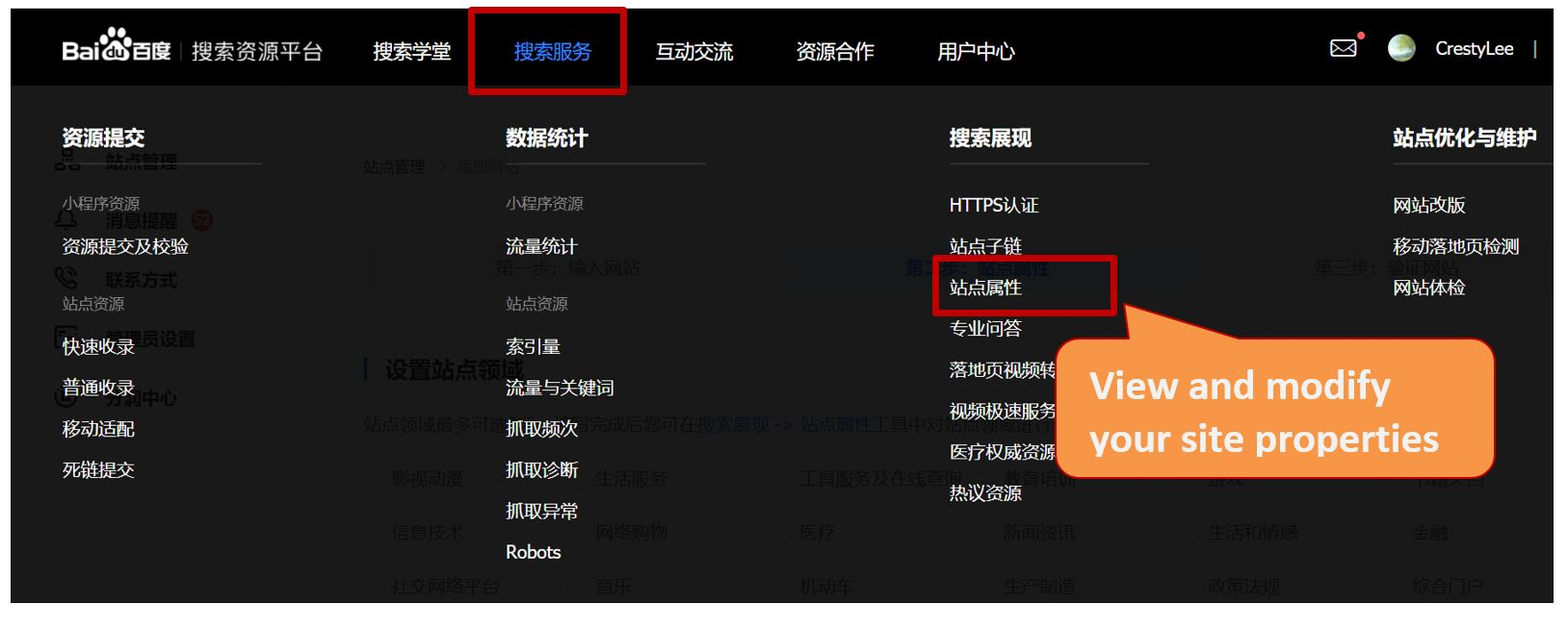 5. Baidu Webmaster Tools - How to view and modify your site categories
