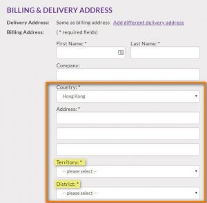 Form with address fields that match Hong Kong's formatting