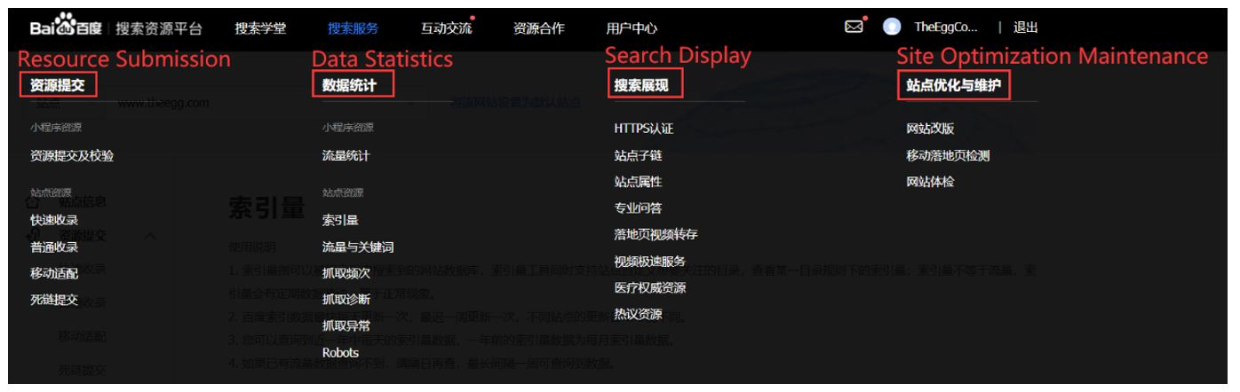 1. Baidu Webmaster Tools interface - 4 primary services