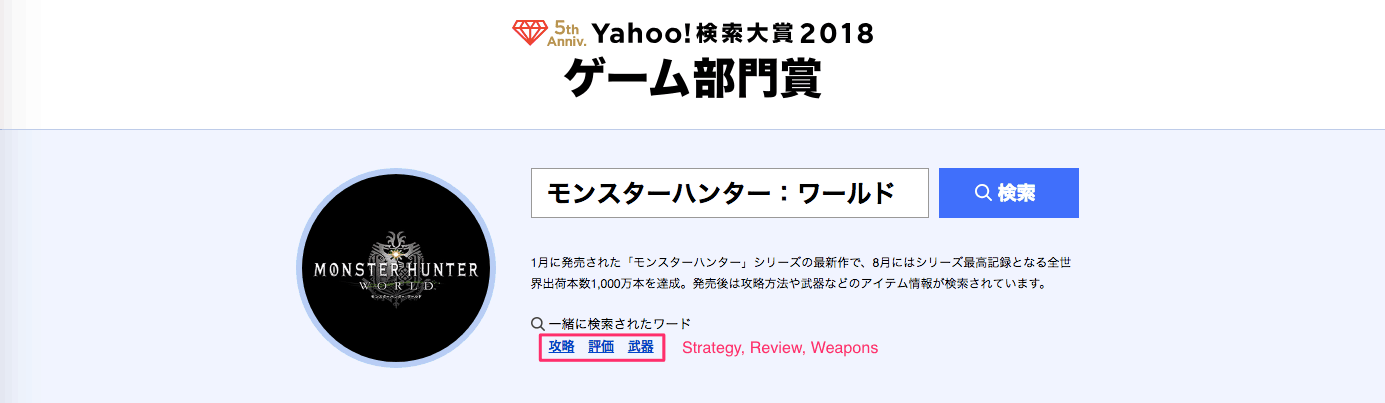 Yahoo Japan Search Awards 2018: Monster Hunter World