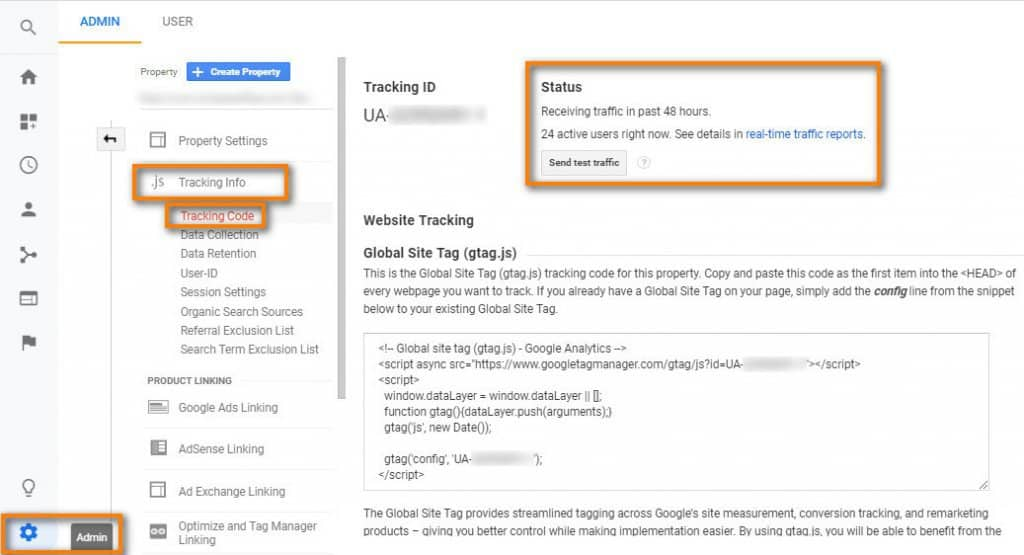 The Tracking Code page in Google Analytics