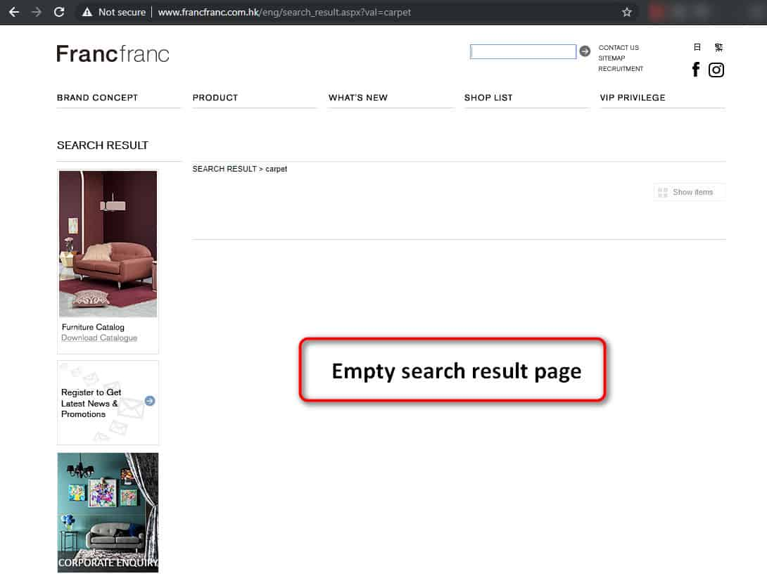 Empty search result page on francfranc.com.hk