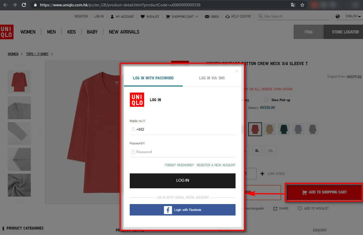 The sign in/sign up pop on uniqlo.com.hk