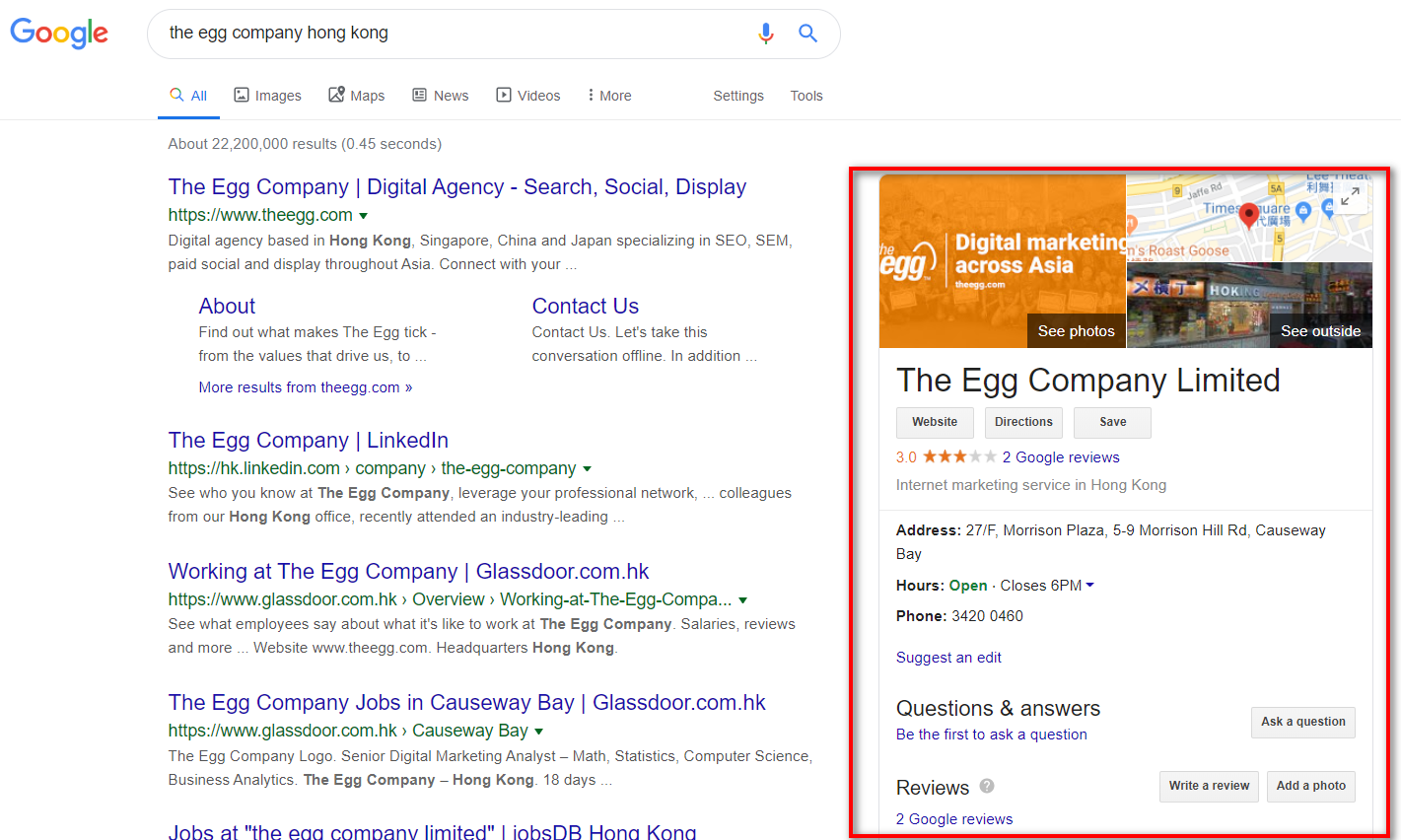 Google My Business Listing on the Knowledge Panel
