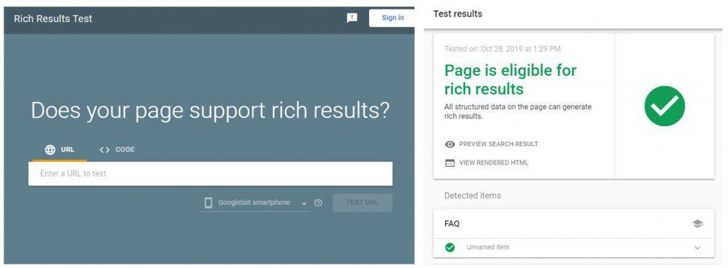 Use rich results test to test whether the FAQ structured data has been set up properly