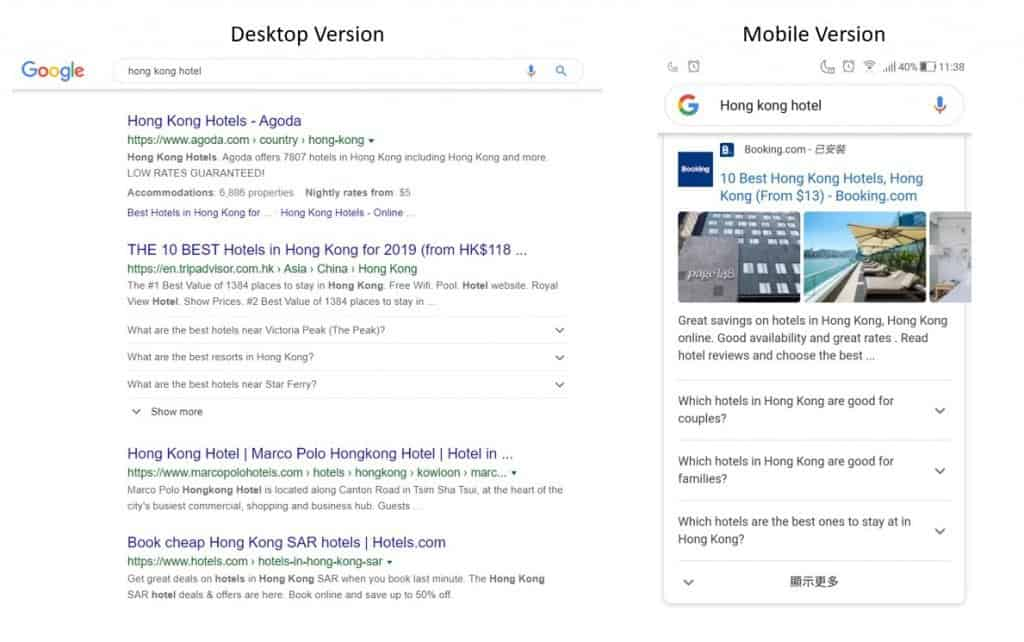 FAQ snippet occupies an extra listing on both desktop and mobile SERP