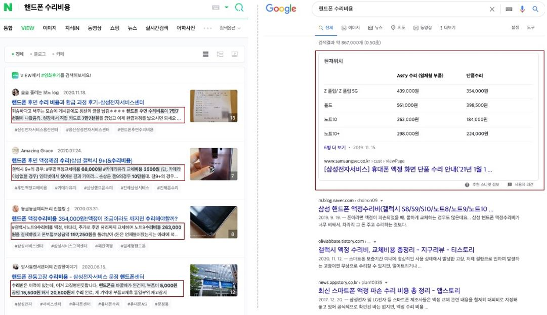 """4. Featured snippets (Naver vs Google) when searching """"smartphone repair costs"""""""