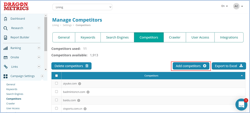 5. Dragon Metrics - Manage how you monitor your competitors