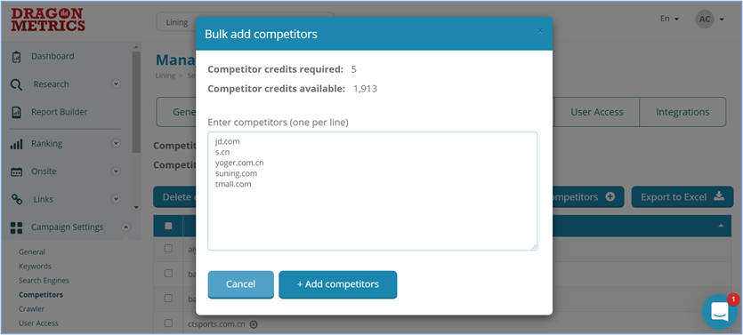 6. Dragon Metrics - Add competitors to your watchlist