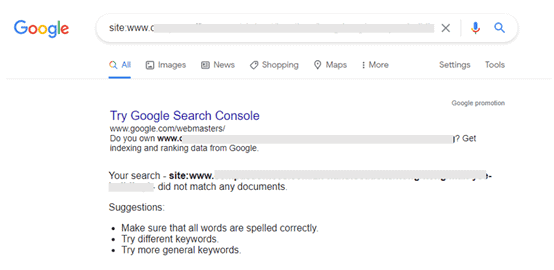 1. A google search of redirected URL