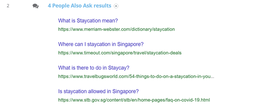 "10. Dragon Metrics - 'People Also Ask' section on the ""Staycation"" SERP"