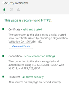 2. Security overview of a website with valid HTTPS
