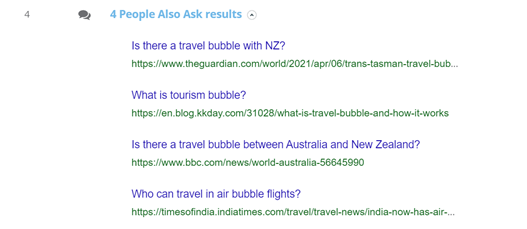 "3. Dragon Metrics - 'People Also Ask' section on the ""Travel Bubble"" SERP"