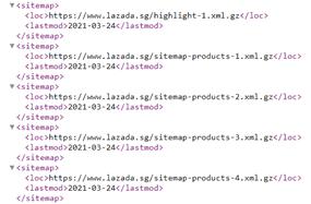 An example of an XML sitemap