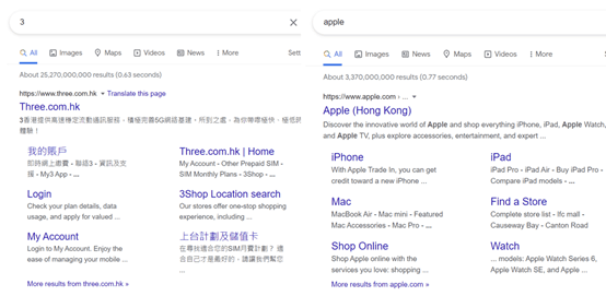 4. Recognized brands tend to rank first on the SERP for branded terms and generate sitelinks