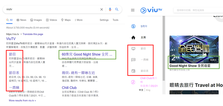 5. ViuTV's sitelink titles (left) match the anchor and alt text on their homepage (right)