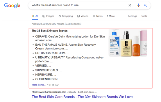 5. Google Search - featured snippet for What's the best skincare brand to use