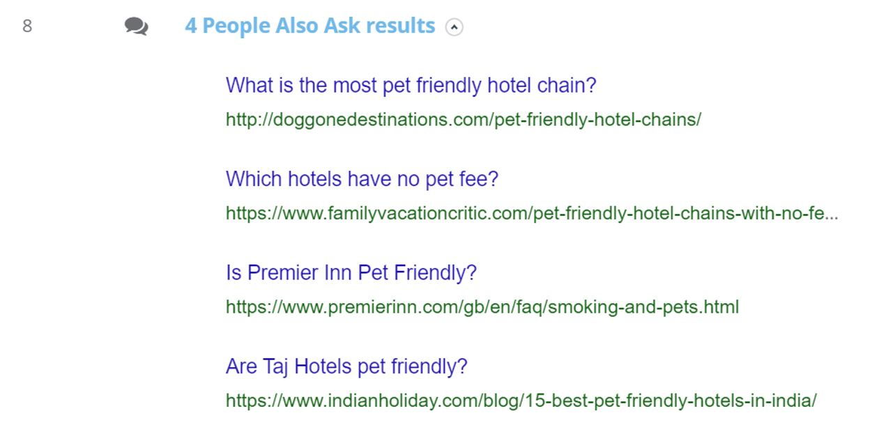 """7. Dragon Metrics - 'People Also Ask' section on the """"Pet-friendly hotels in Hong Kong"""" SERP"""