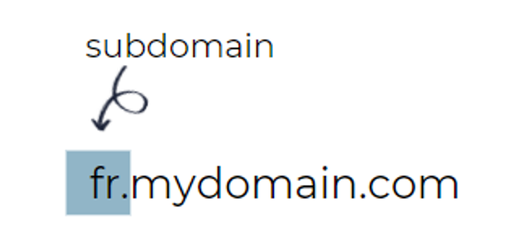 2. Example of a website subdomain targeting users in France