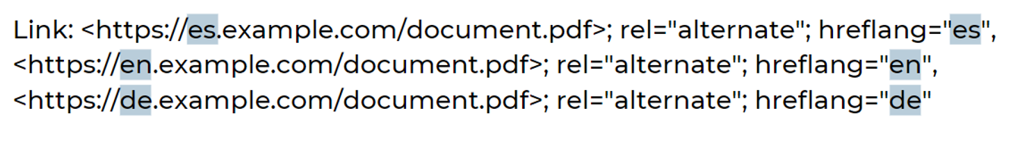 9. Example of hreflang tags implemented via HTTP headers