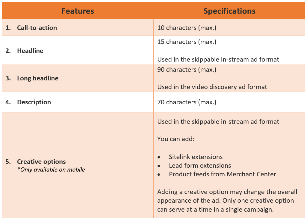 3. Video action campaigns - Ad features and specifications
